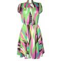 Разноцветное летнее платье из тонкого шифона