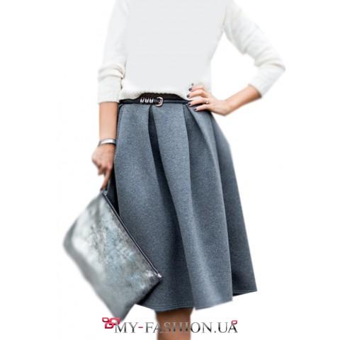 Тёплая серая юбка из пальтовой ткани