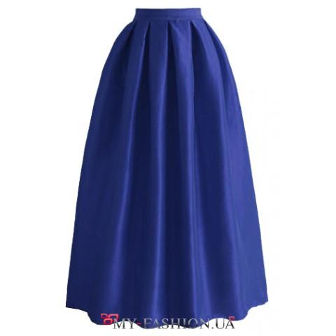 Синяя хлопковая юбка в пол со складками