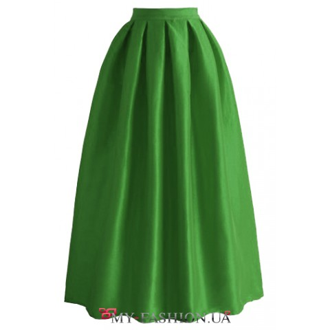 Зелёная хлопковая юбка в пол со складками