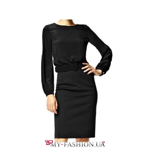 Комбинированное платье чёрного цвета с бархатным поясом