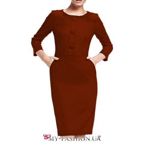 Бордовое платье из плотного трикотажа с крупными пуговицами