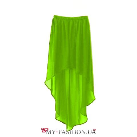 Зелёная шифоновая юбка асимметричного кроя
