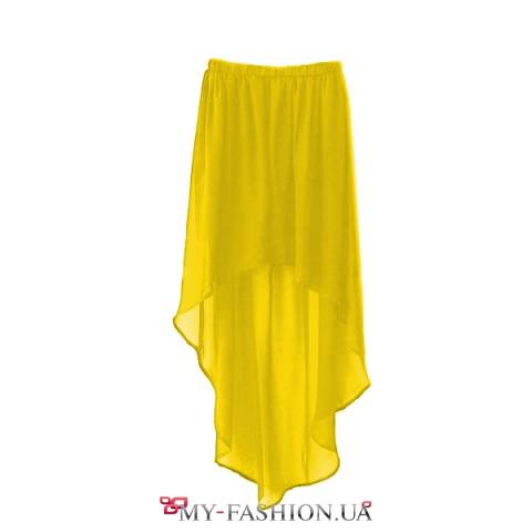 Жёлтая шифоновая юбка асимметричного кроя