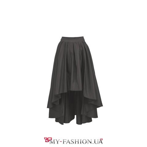 Чёрная асимметричная юбка из атлас-хлопка