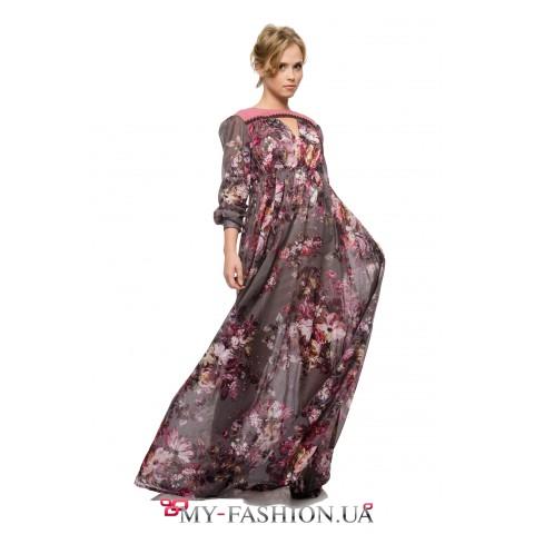 Длинное платье с палитрой осенних красочных цветов