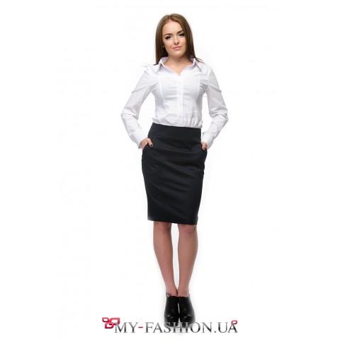 Белая блузка со втачным поясом