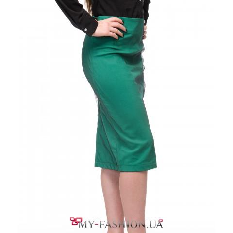 Двойная юбка-карандаш зелёного цвета
