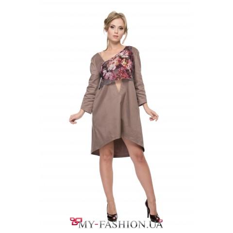 Асимметричное платье с комбинированной вставкой
