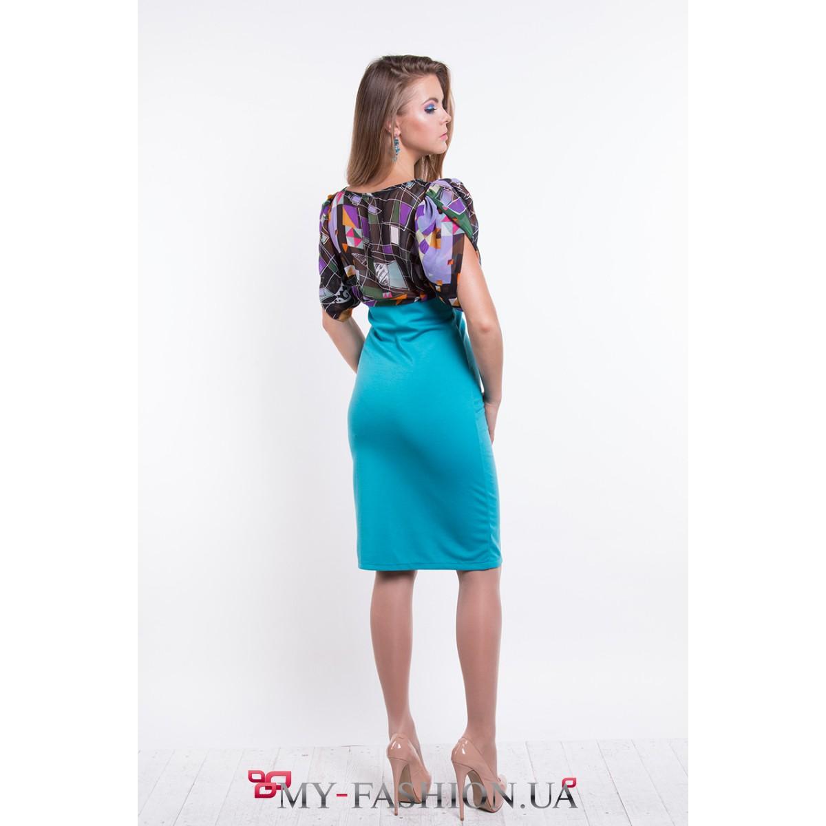 Комбинированное платье шифон и трикотаж