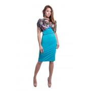 Комбинированное платье из голубого трикотажа