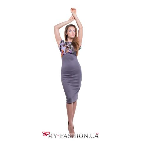 Комбинированное платье дымчато-серого цвета