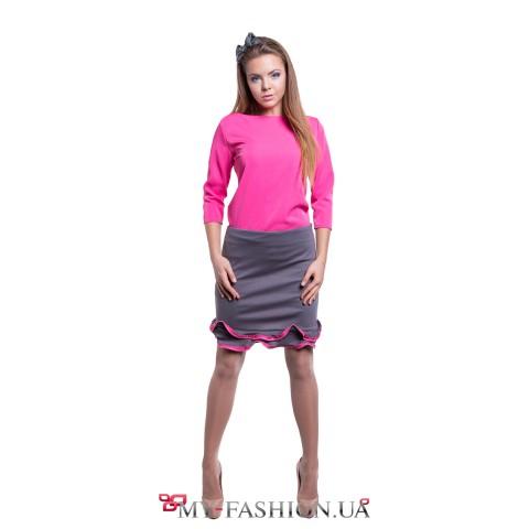 Короткая трикотажная юбка с воланами