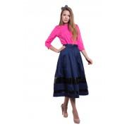 Синяя хлопковая юбка средней длины