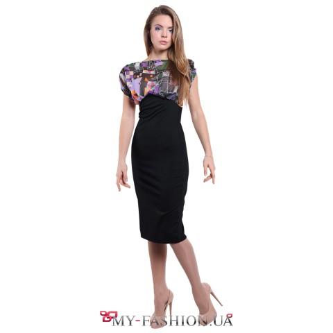 Комбинированное платье чёрного цвета