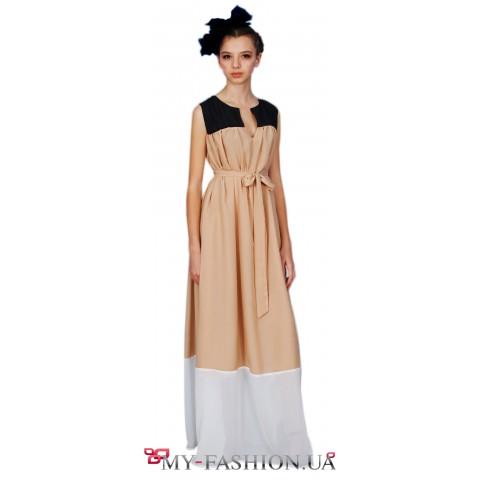 Трёхцветное платье максимальной длины