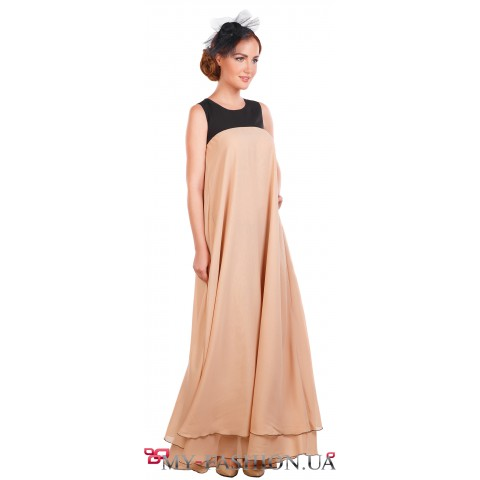 Лёгкое комбинированное длинное платье
