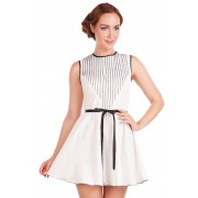 Короткое белое платье с оригинальной кокеткой