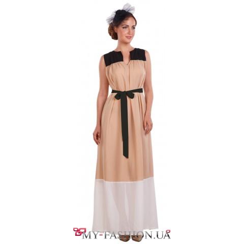 Восхитительное комбинированное летнее платье