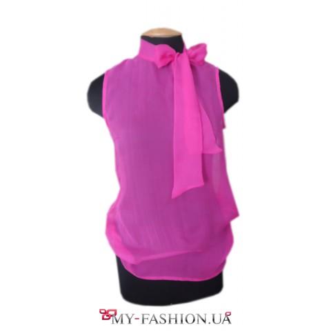 Шёлковая дизайнерская блузка цвета фуксии