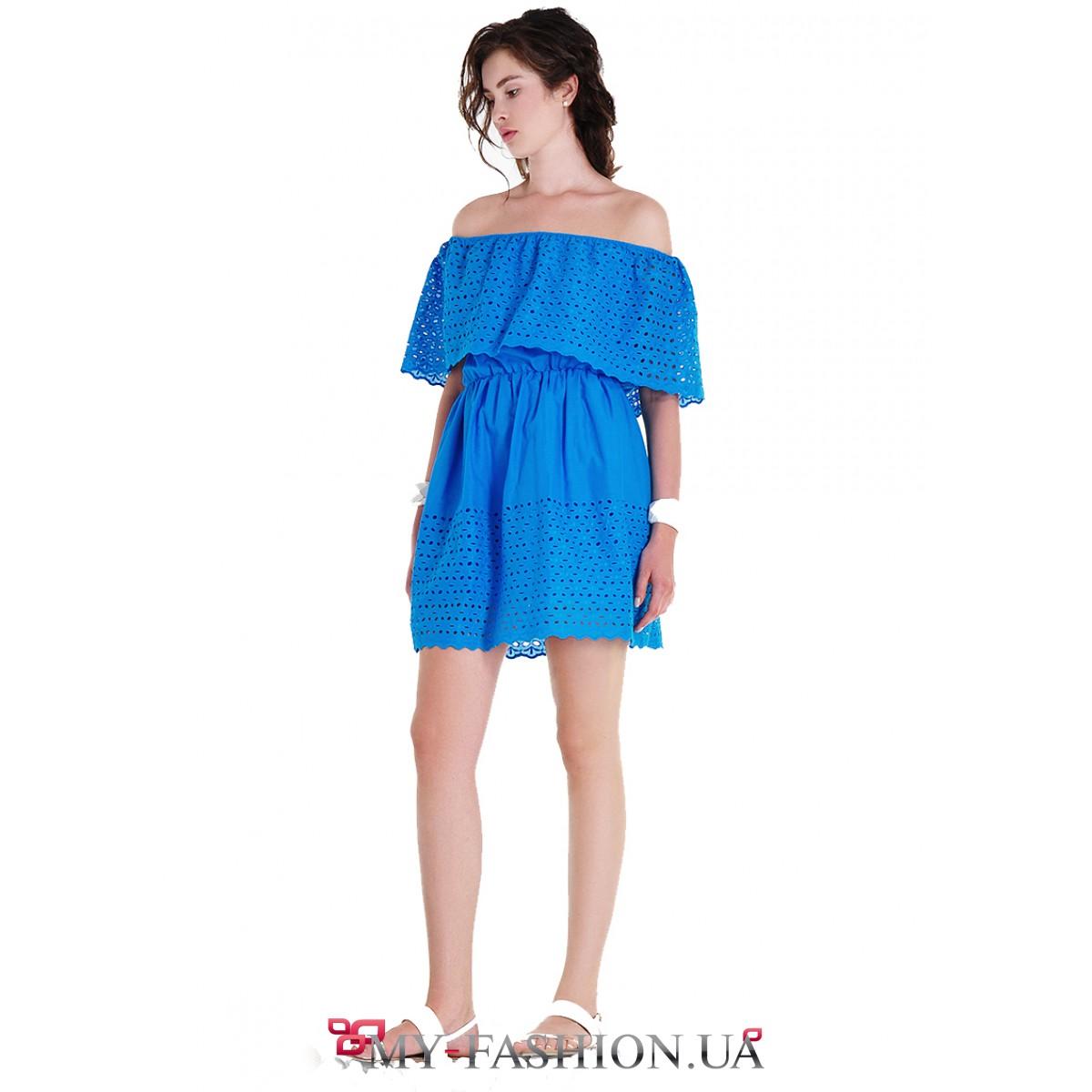 Платье синее с воланом