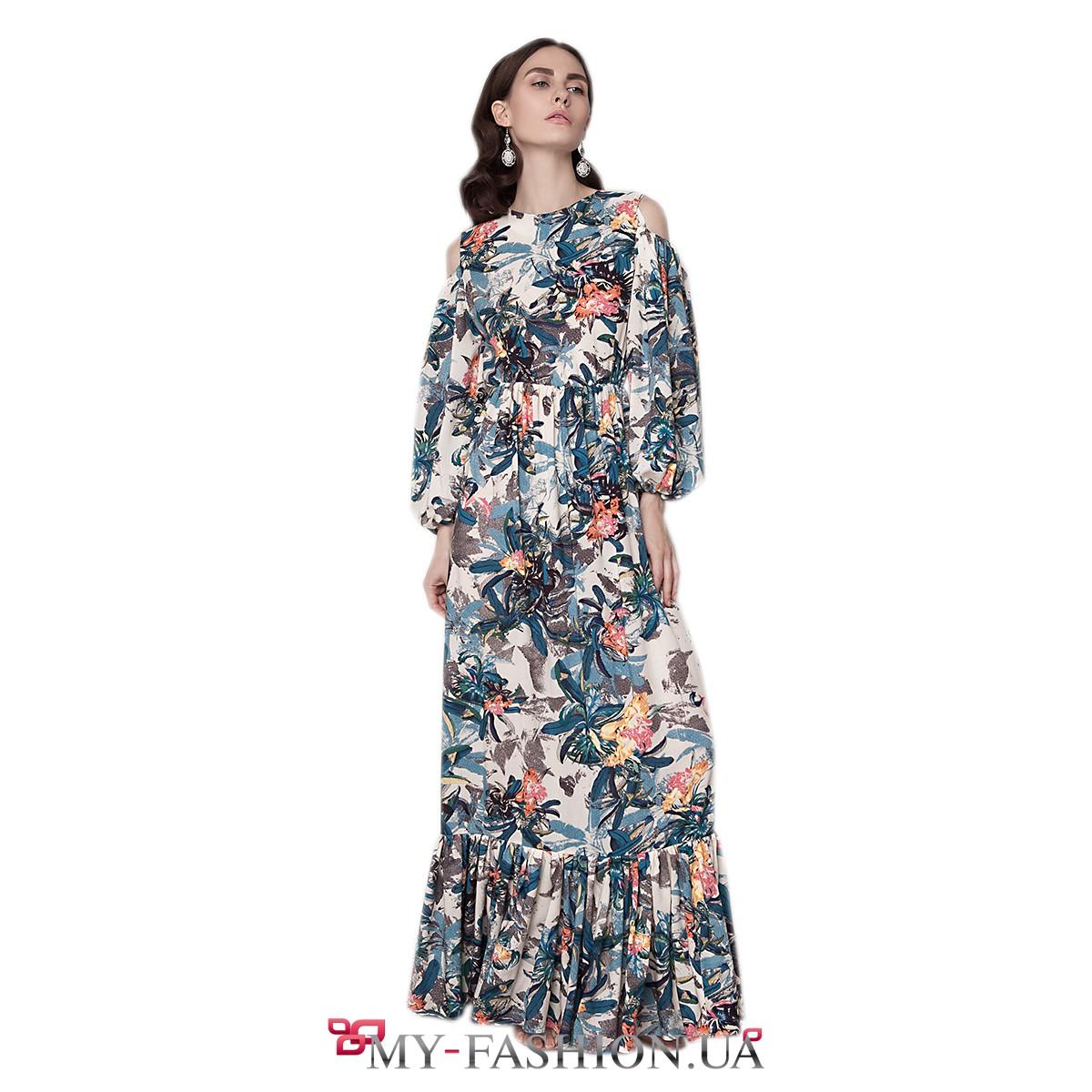Длинное Платье С Воланом Купить В