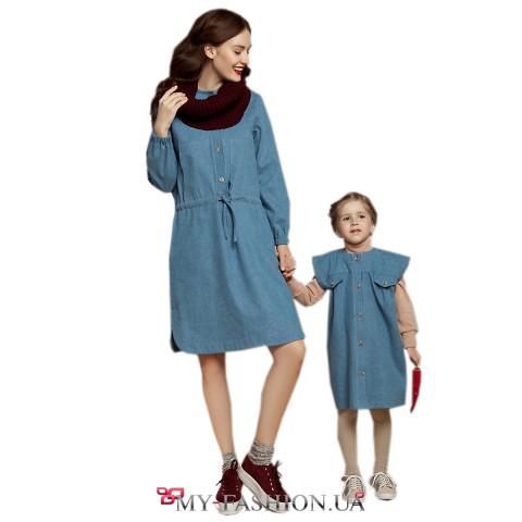 Джинсовое платье с кулисой на талии