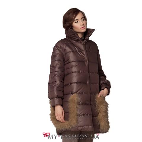 Тёплое зимнее пальто с мехом лисы