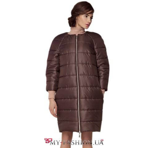 Тёплое пальто-баллон с укороченным рукавом