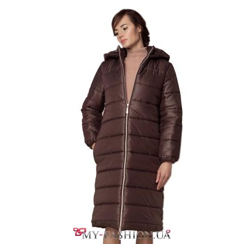 Пальто удлинённой модели с капюшоном