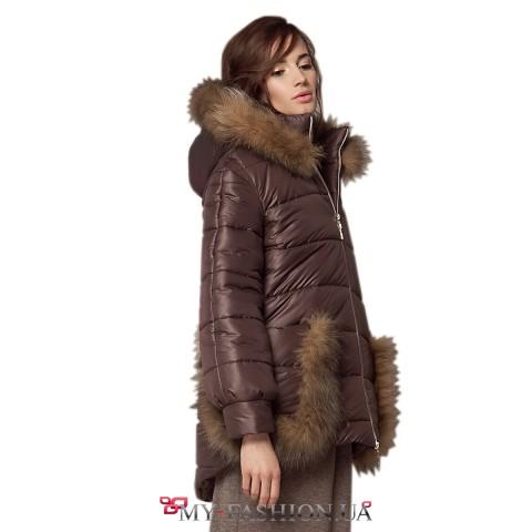 Асимметричная куртка с отделкой из меха лисы