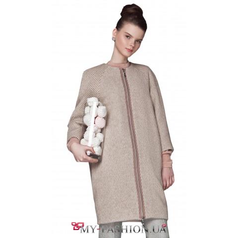 Тёплое женское пальто-баллон
