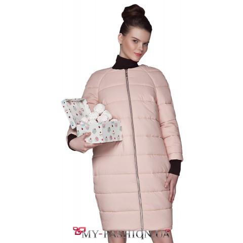 Зимнее пальто-баллон зефирно-розового цвета