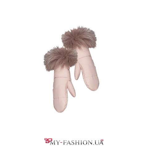 Тёплые женские рукавицы с опушкой