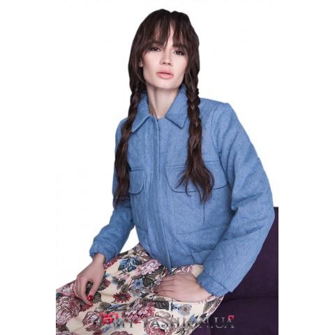 Женская хлопковая куртка с отложным воротником