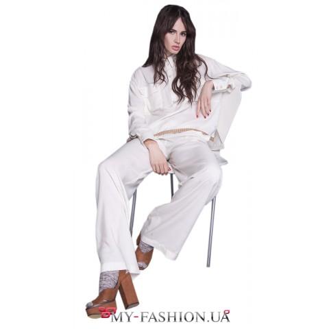 Летние женские брюки молочного цвета