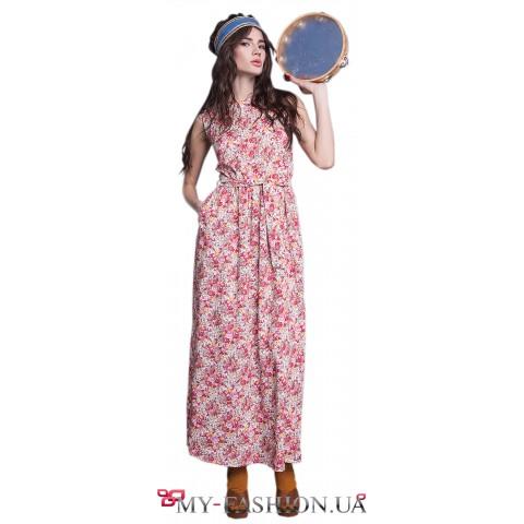 Яркое летнее платье-сарафан с карманами