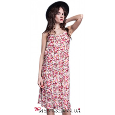 Платье-сарафан средней длины на бретелях