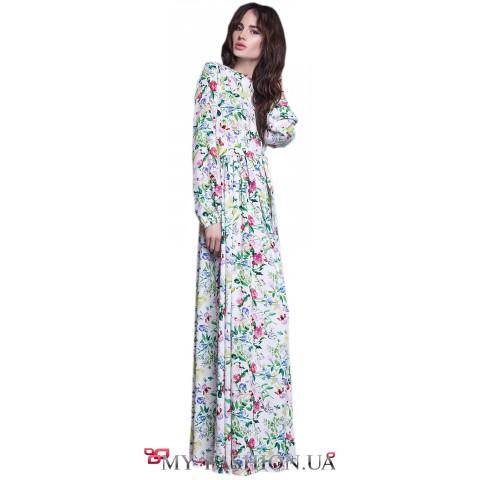 Длинное цветочное платье с завышенной талией