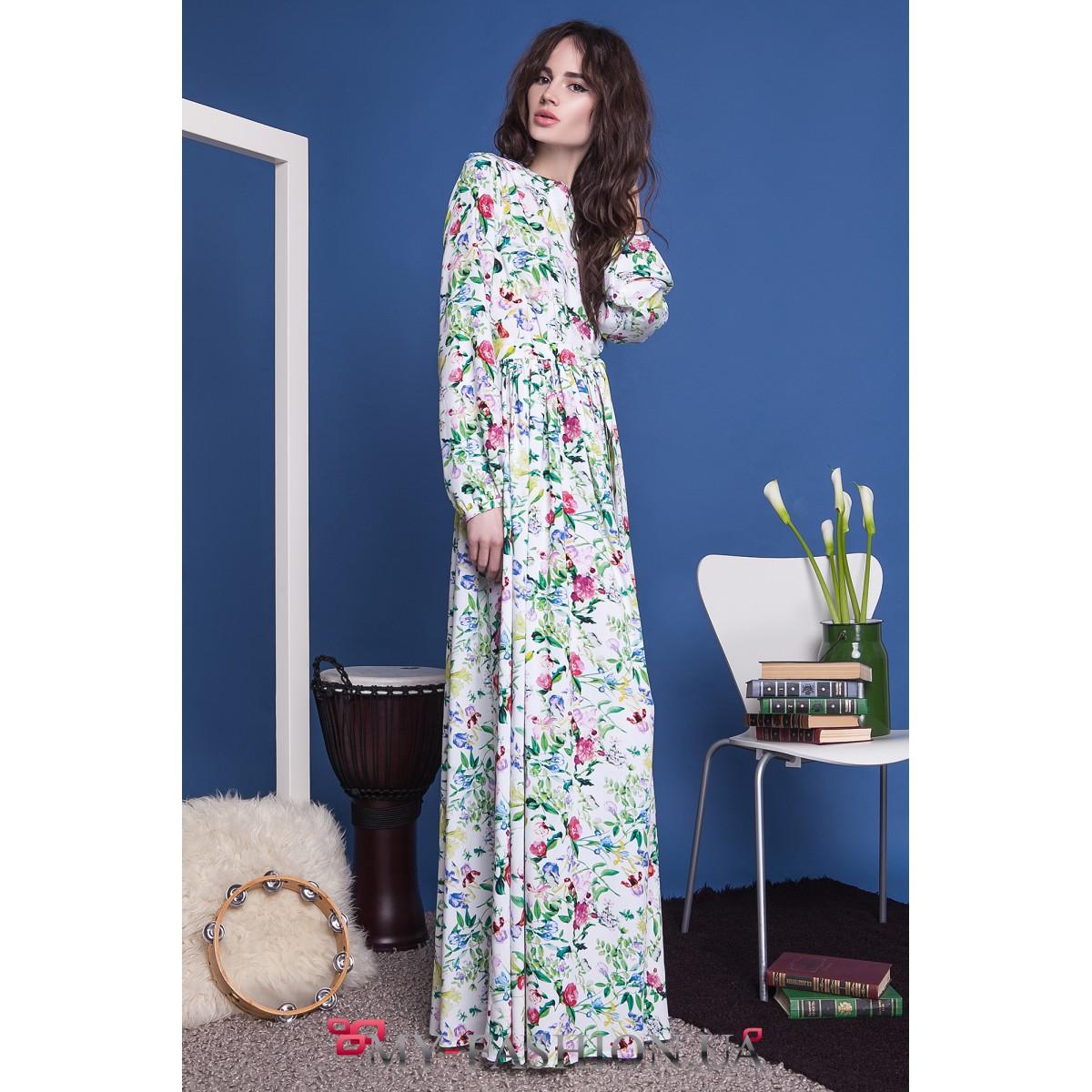 Платье с длинным рукавом и завышенной талией фото