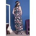 Длинное синее платье трапециевидного силуэта