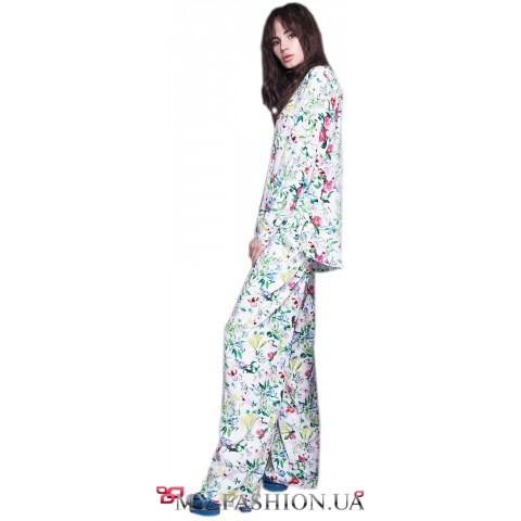 Женские летние брюки с цветочным принтом