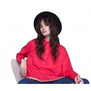 Женская красная рубашка свободного силуэта
