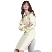 Коктейльное лимонное платье с объемными рукавами