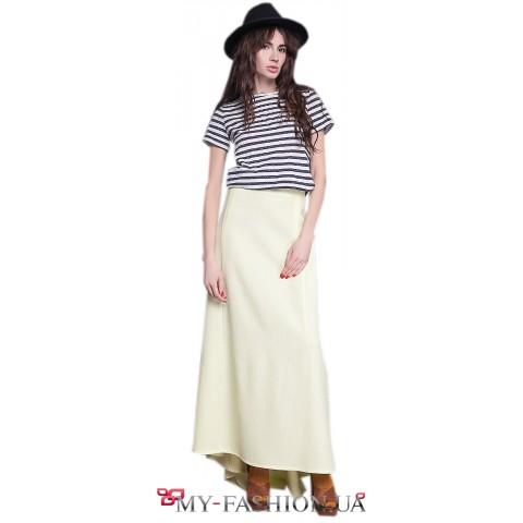 Дизайнерская юбка максимальной длины из льна