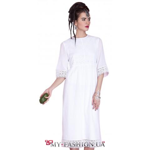 Белое летнее платье из натурального хлопка