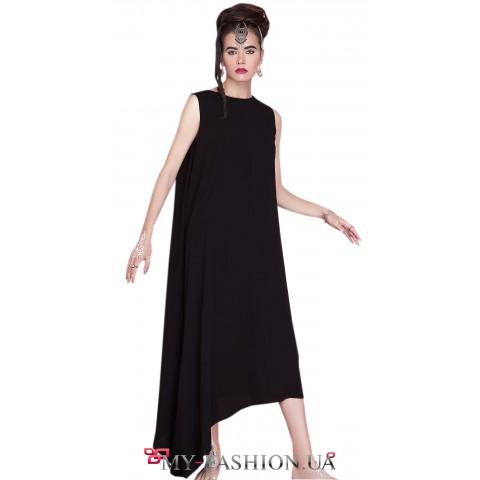 Лёгкое чёрное платье с открытой спиной