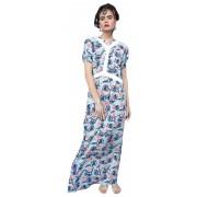 Длинное летнее платье с контрастным декором