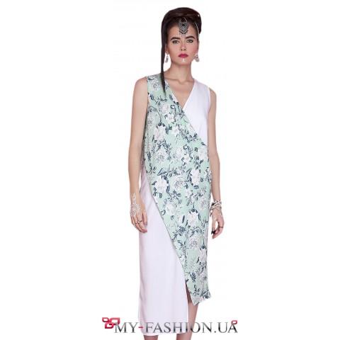 Комбинированное асимметричное платье средней длины