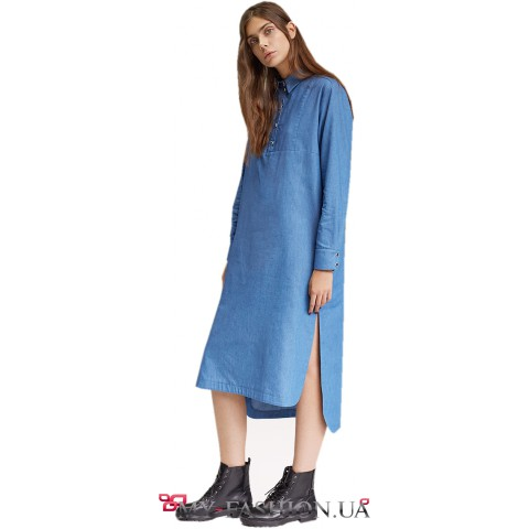 Свободное платье-рубашка  с длинным рукавом